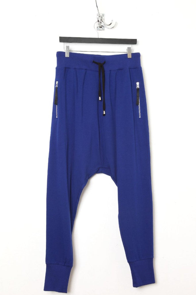 UNCONDITIONAL azure drop crotch zip pocket jersey trouser.