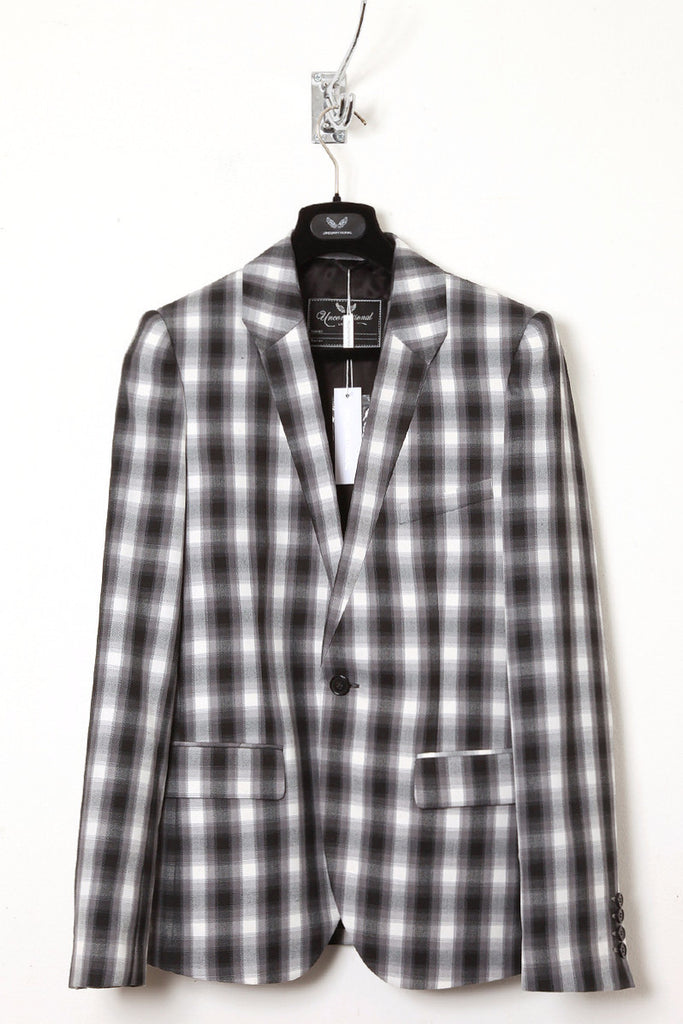 UNCONDITIONAL Grey and White checked one button jacket.