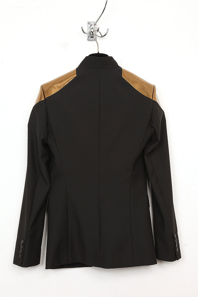 UNCONDITIONAL Black cutaway jacket with new contrast bronze patent leather shoulders.