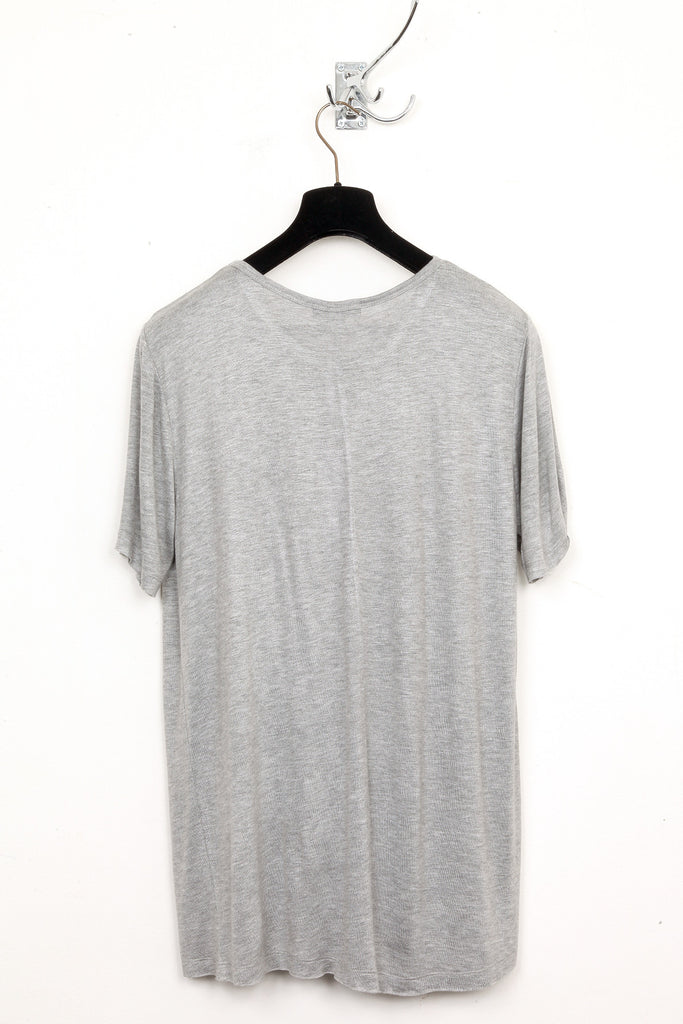 UNCONDITIONAL Flannel grey long fit knit cashmere feel crew neck T-shirt