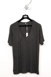 UNCONDITIONAL charcoal long loose knit scoop neck tee.