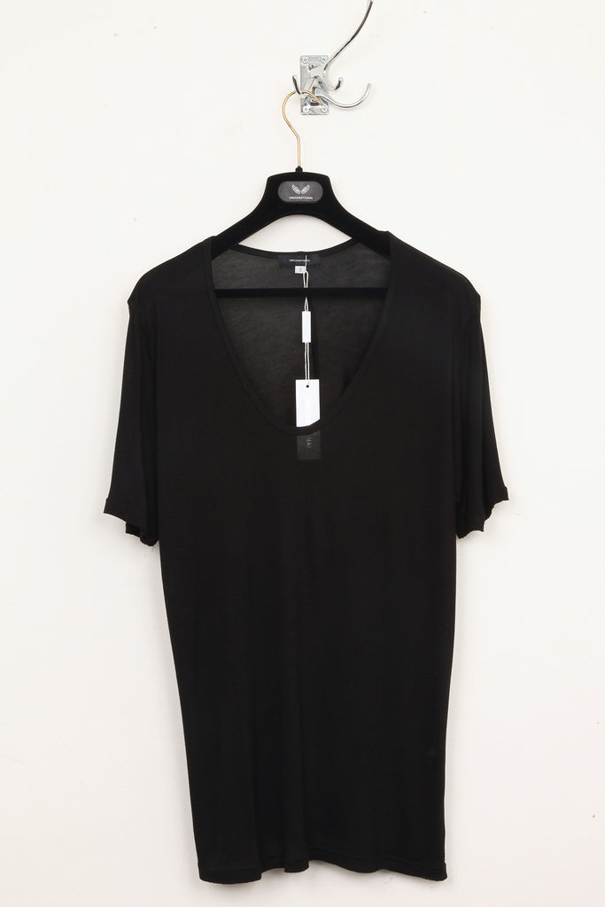 UNCONDITIONAL black long loose knit scoop neck tee.
