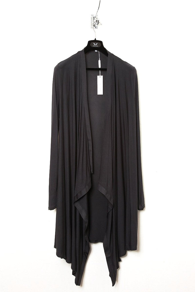 UNCONDITIONAL super dark grey rayon long drape cardigan.