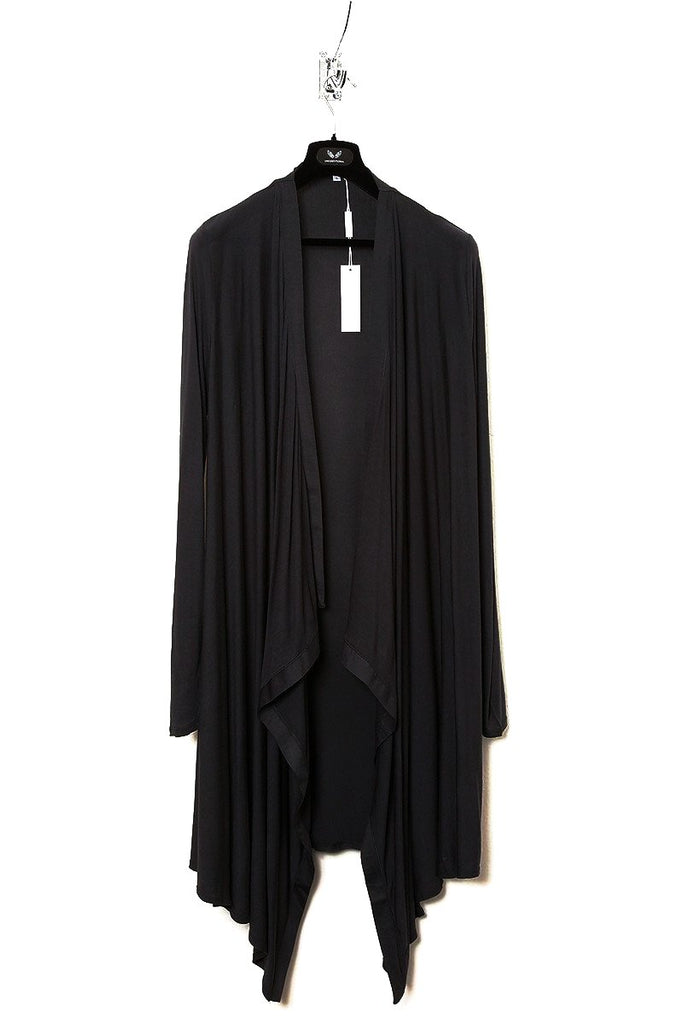 UNCONDITIONAL AW18 Black rayon long drape border cardigan.