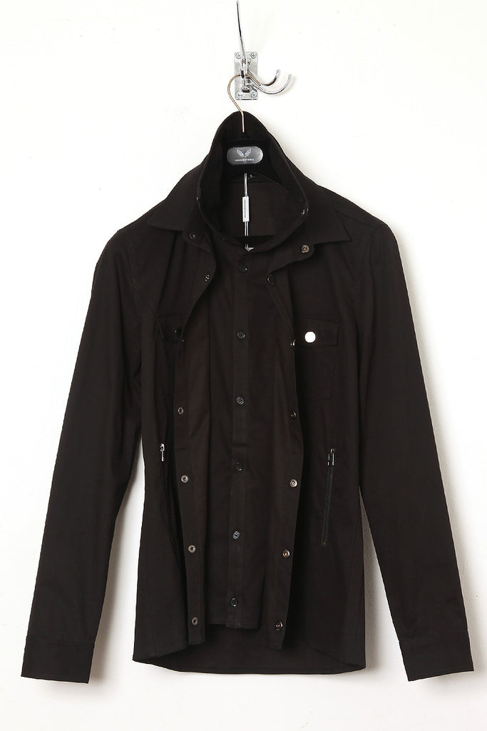 UNCONDITIONAL black shirt with double front and collar.