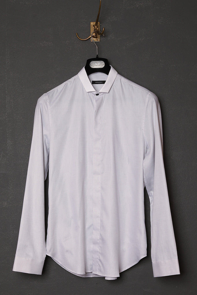 UNCONDITIONAL Light grey long sleeve shirt with contrast white mini collar
