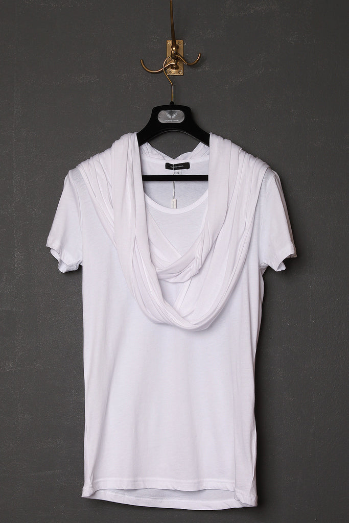 UNCONDITIONAL white and white scarf t-shirt.