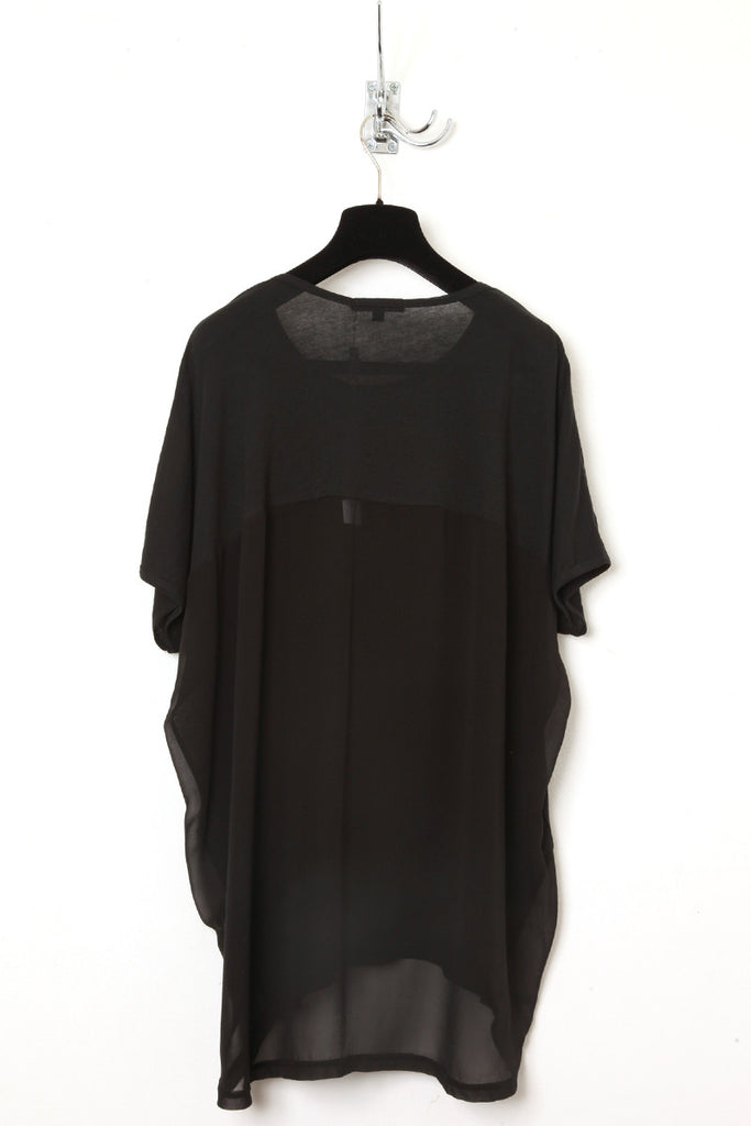UNCONDITIONAL All Black tail tee with lower back and tail in silk chiffon