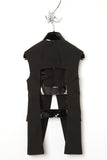 UNCONDITIONAL black and black sleeveless cage back cutaway jacket.