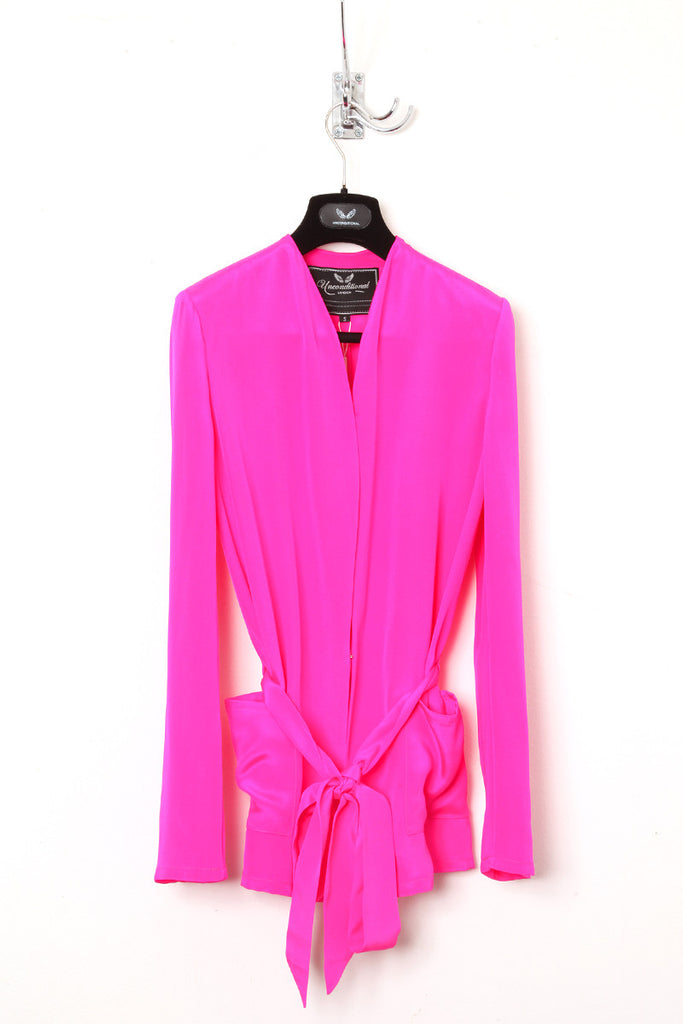 UNCONDITIONAL Hot Pink HEAVY SILK CREPE boxy belted jacket.
