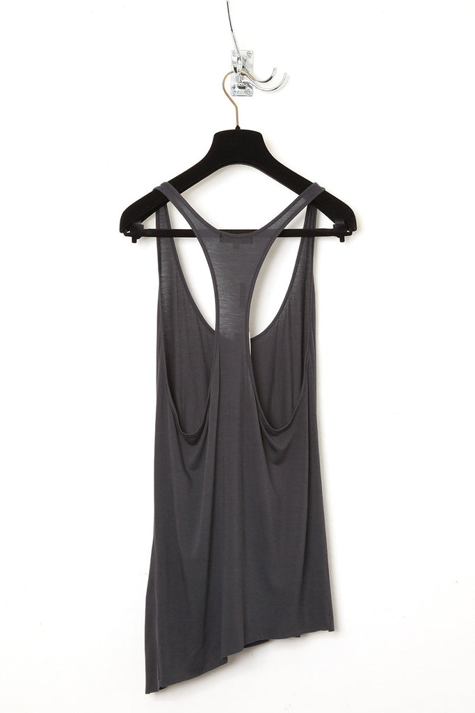 UNCONDITIONAL super dark grey racer back vest with twisted seams.