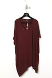 UNCONDITIONAL dark burgundy asymmetric shoulder double dip tee.