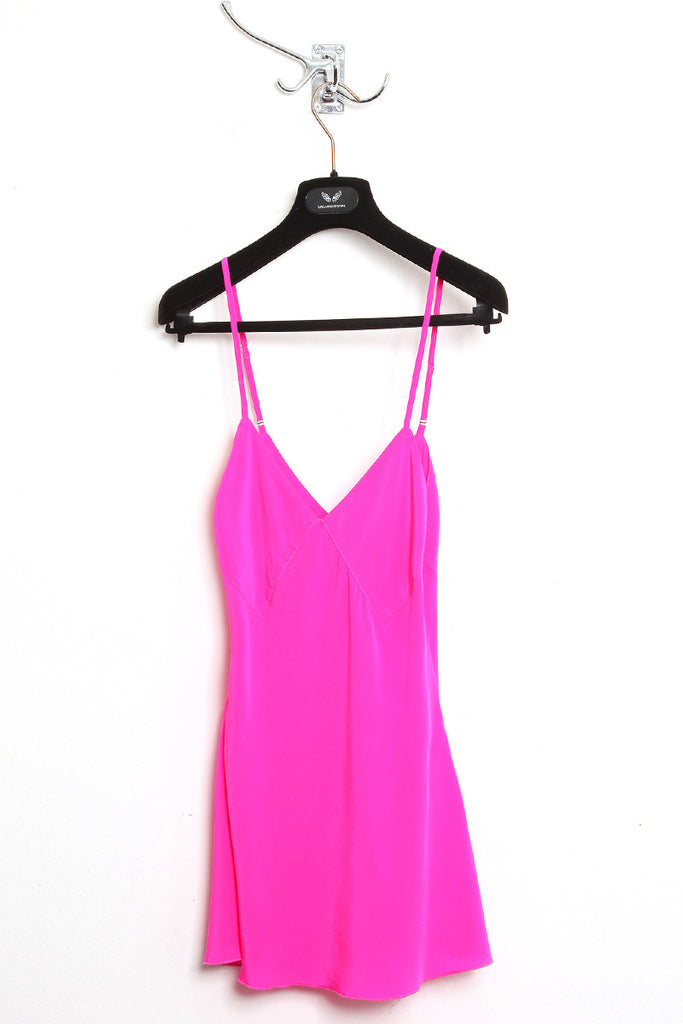 UNCONDITIONAL Hot Pink pure silk crepe camisole with adjustable straps.
