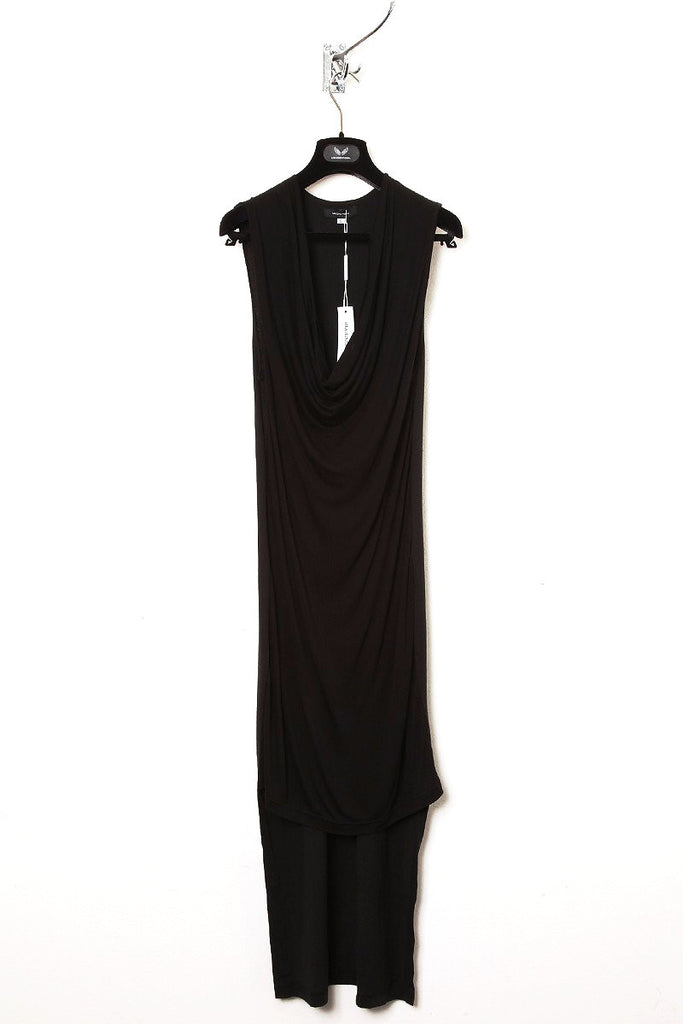 UNCONDITIONAL black sleeveless drape front tail dress.