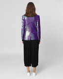 UNCONDITIONAL ladies Irridescent purple one button fully sequinned jacket