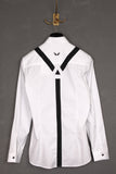 UNCONDITIONAL's  white long sleeve shirt with black braces