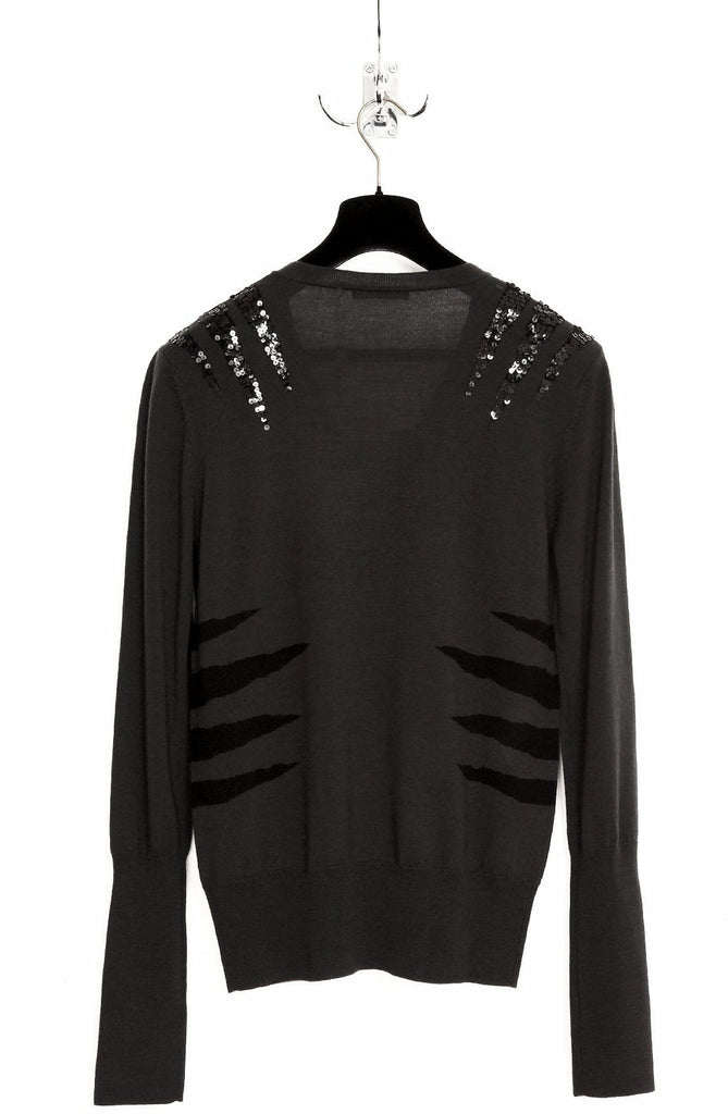 UNCONDITIONAL SEQUIN EMBELLISHED TIGER SCRATCH V-NECK SWEATER