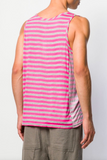 UNCONDITIONAL Pink | Grey striped vest with a pastel pink contrast side panels