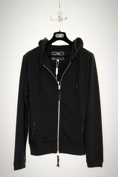 UNCONDITIONAL Black zip up hoodie with black wings hand embroidery