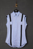 UNCONDITIONAL pale blue and black sleeveless braces shirt.