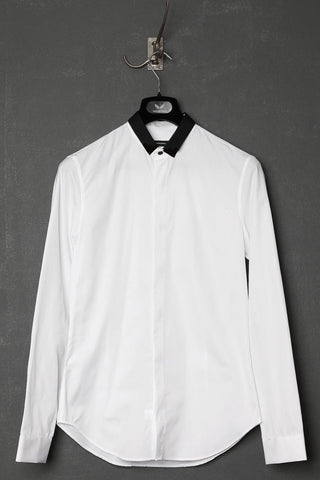 UNCONDITIONAL AW18 Black pique shirt with signature mini collar
