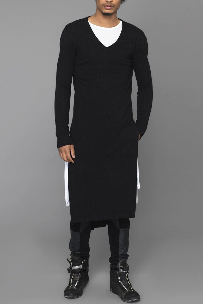 UNCONDITIONAL Signature Black Italian cashmere-wool long high V-neck jumper