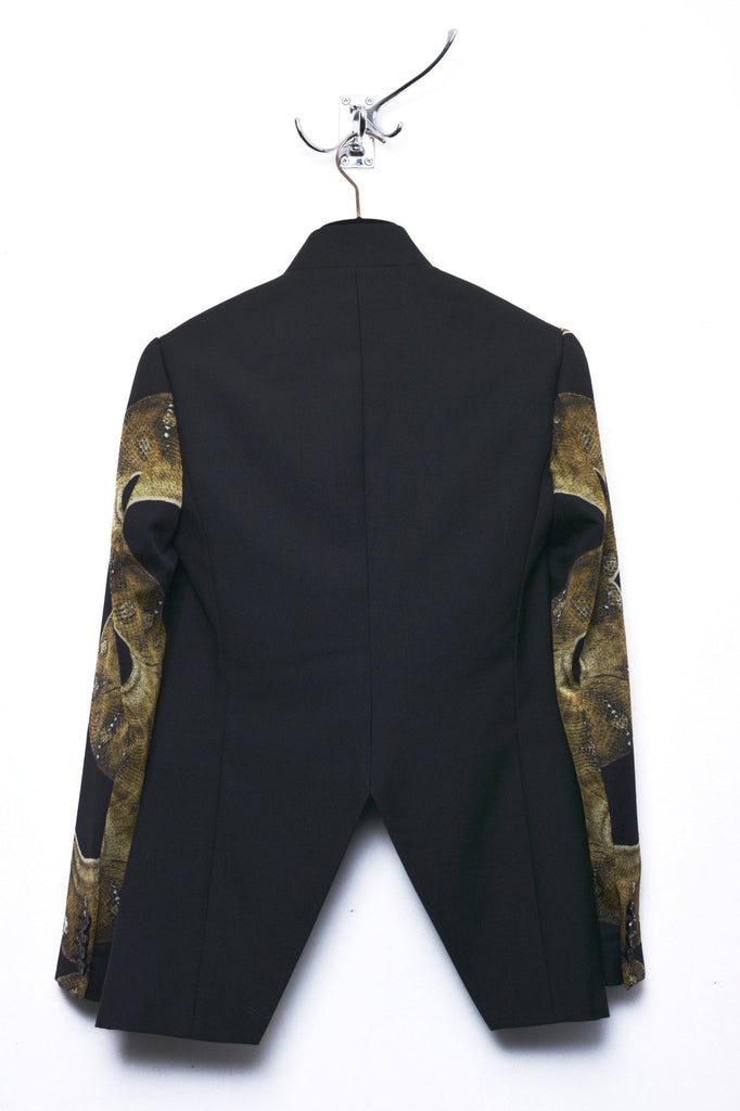 UNCONDITIONAL High collar cutaway blazer with snake silk crepe veiled sleeves