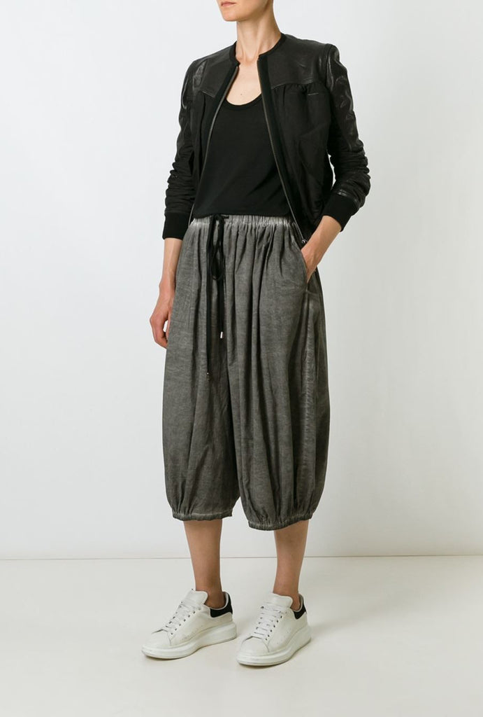 UNCONDITIONAL Military cold dye double layer cotton voile cropped cocoon trousers