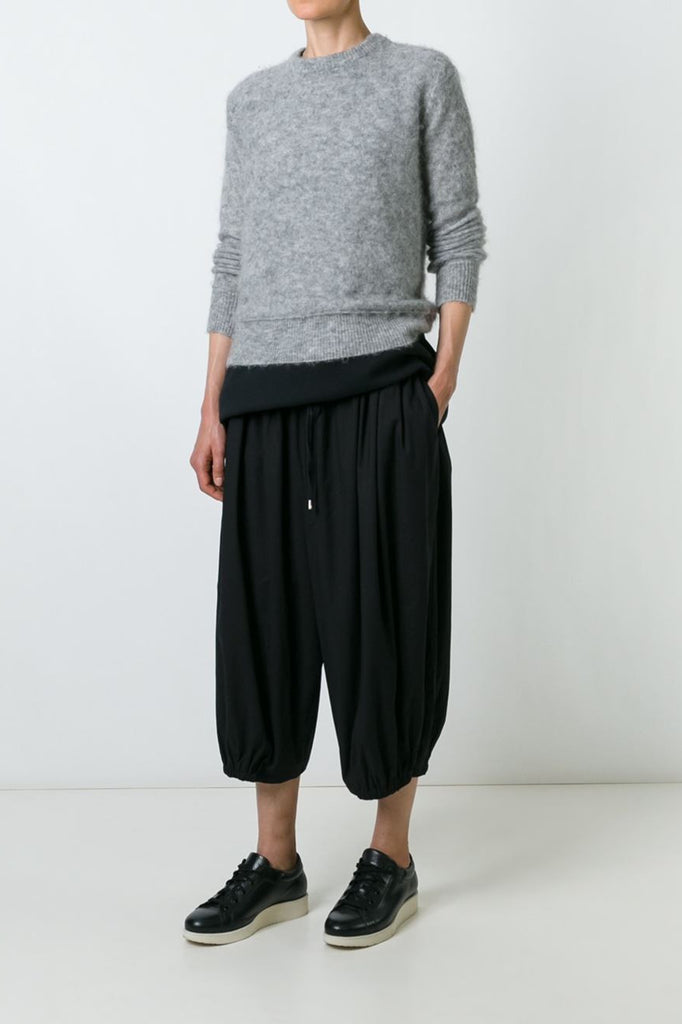 UNCONDITIONAL Black double layer cotton voile cropped cocoon trousers