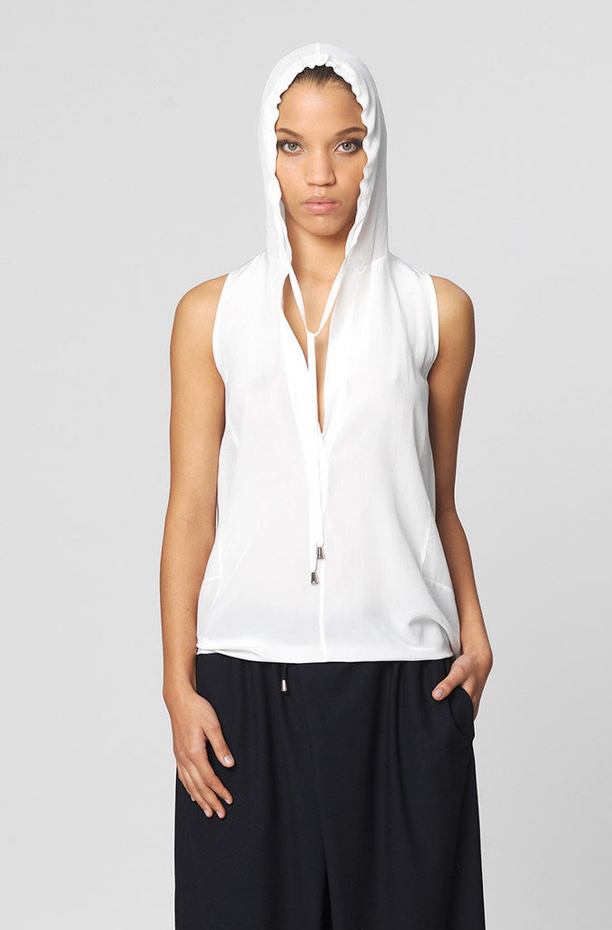 UNCONDITIONAL Soft white sleeveless hooded silk satin blouse