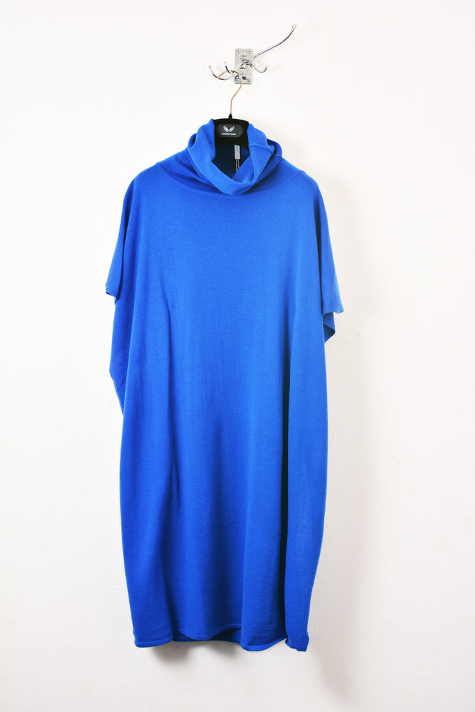 UNCONDITIONAL Azure merino wool knitted draped polo neck dress.