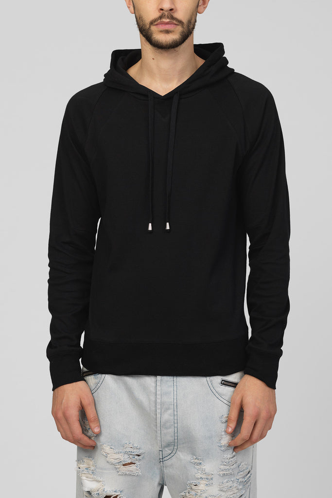 UNCONDITIONAL SS18 Black Sunday Morning cotton sweat slim fit hoodie.