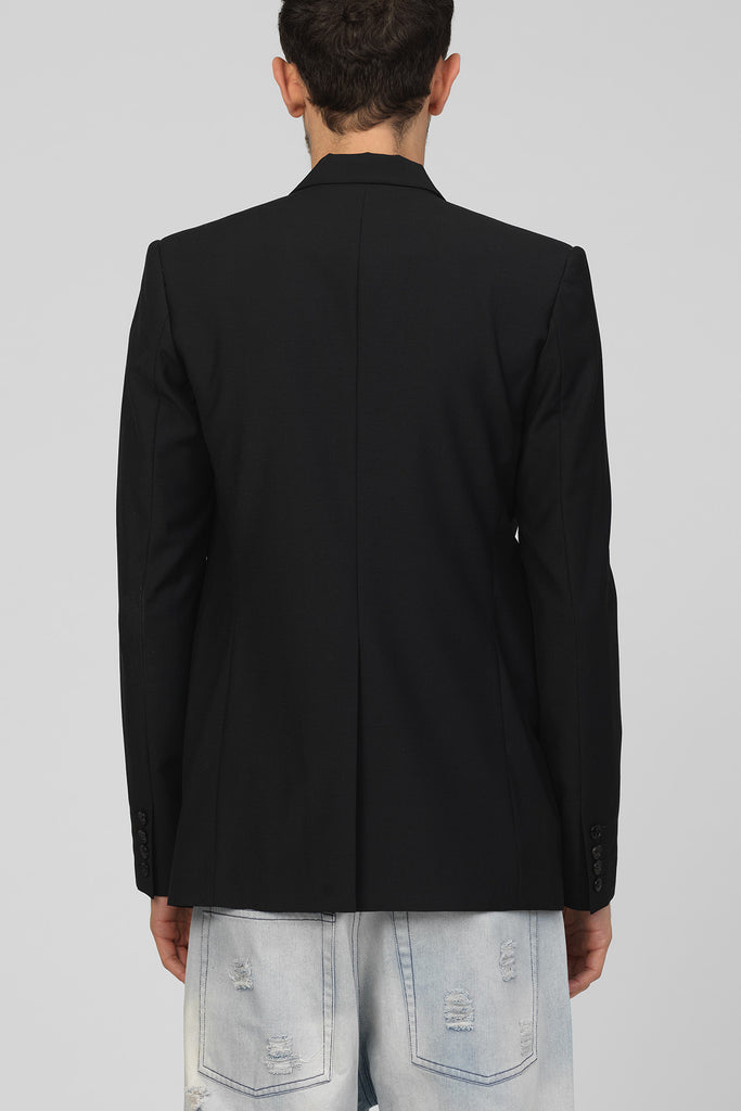 UNCONDITIONAL Black wool cutaway jacket with black contrast leather lapel.
