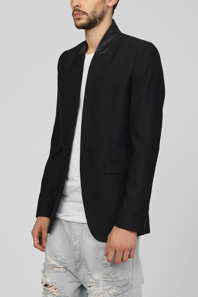 UNCONDITIONAL Black wool 1 button jacket with black contrast leather outer collar