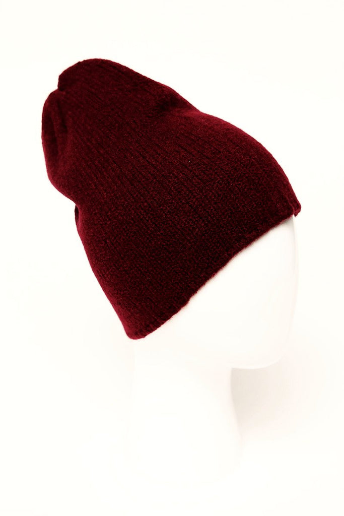 UNCONDITIONAL Dark Red boiled wool smurf beanie. 5766cdd7a94