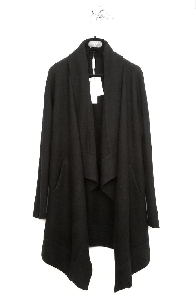 UNCONDITIONAL AW18 Ladies Black boiled wool drape front cardigan.