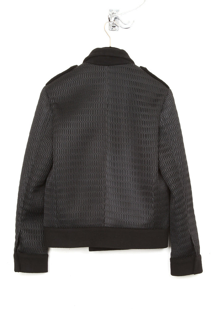 UNCONDITIONAL black short coat with contrast mesh back and sleeves.
