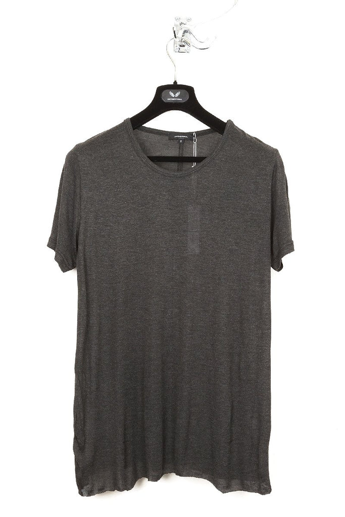 UNCONDITIONAL charcoal cashmere feel light loose knit rayon t-shirt.