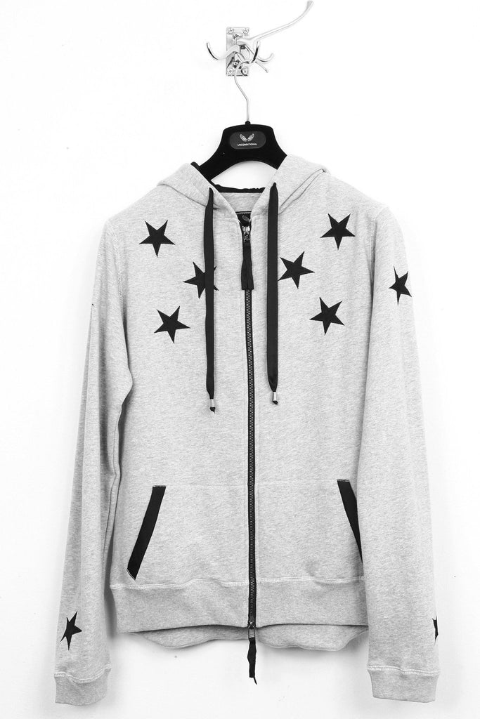 UNCONDITIONAL flannel zip up sweat-shirting hoodie with black silk appliqued stars