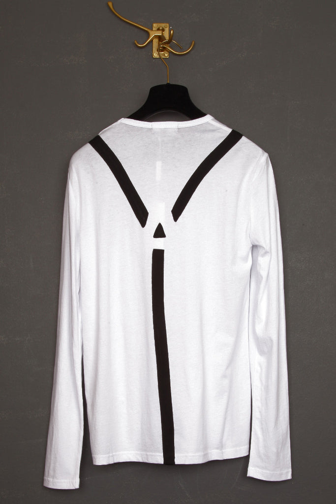 UNCONDITIONAL white and black long sleeve t-shirt with an appliqued silk satin braces.