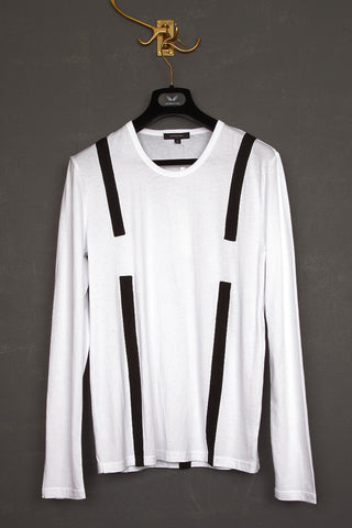 UNCONDITIONAL white with contrast black harness long sleeved shirt.