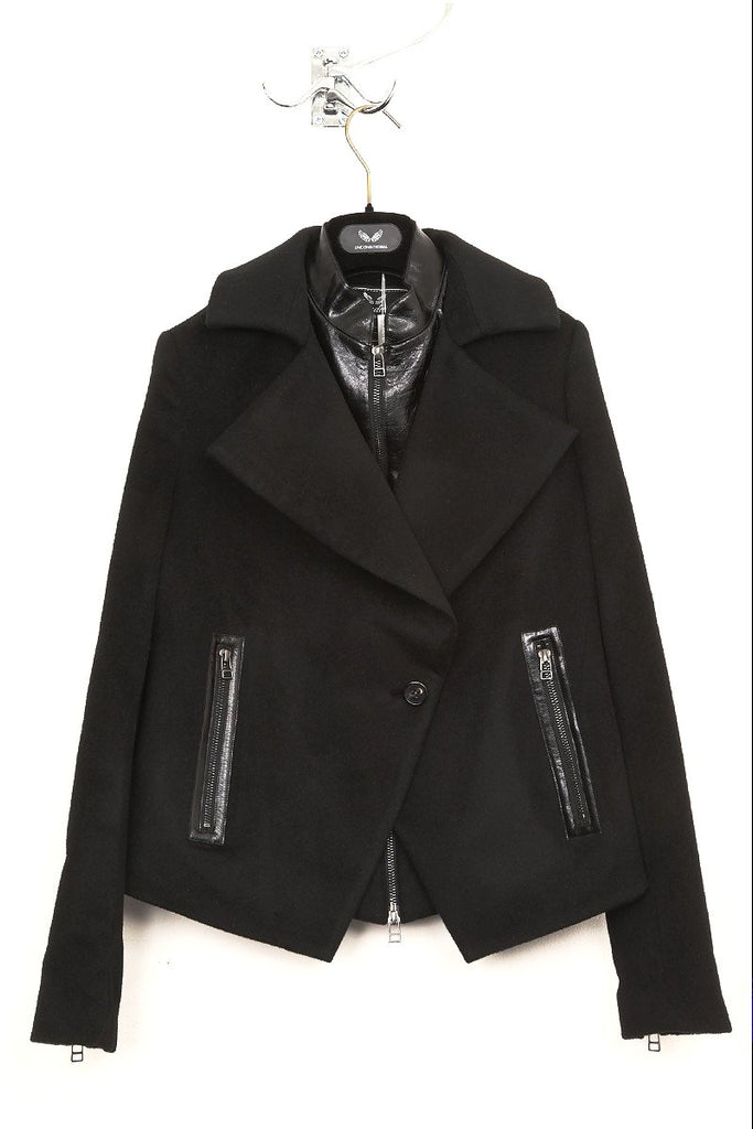UNCONDITIONAL ladies black and black double layered short biker peacoat.