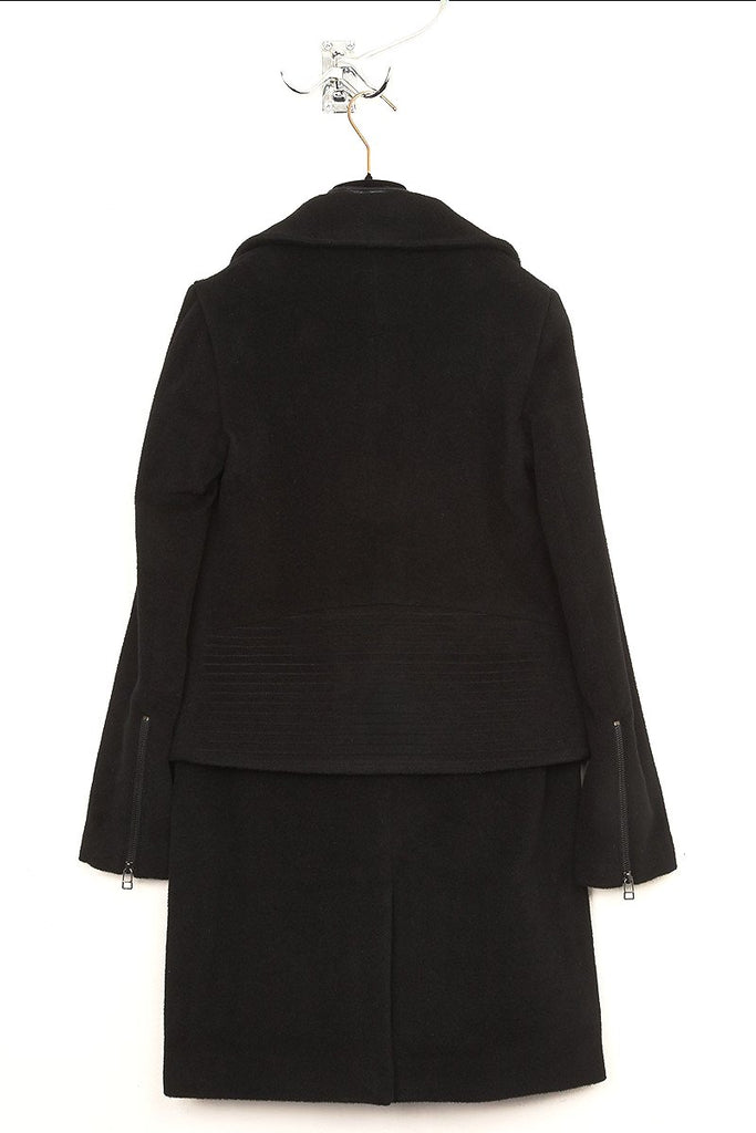 UNCONDITIONAL black and black double layered 3/4 length biker peacoat.