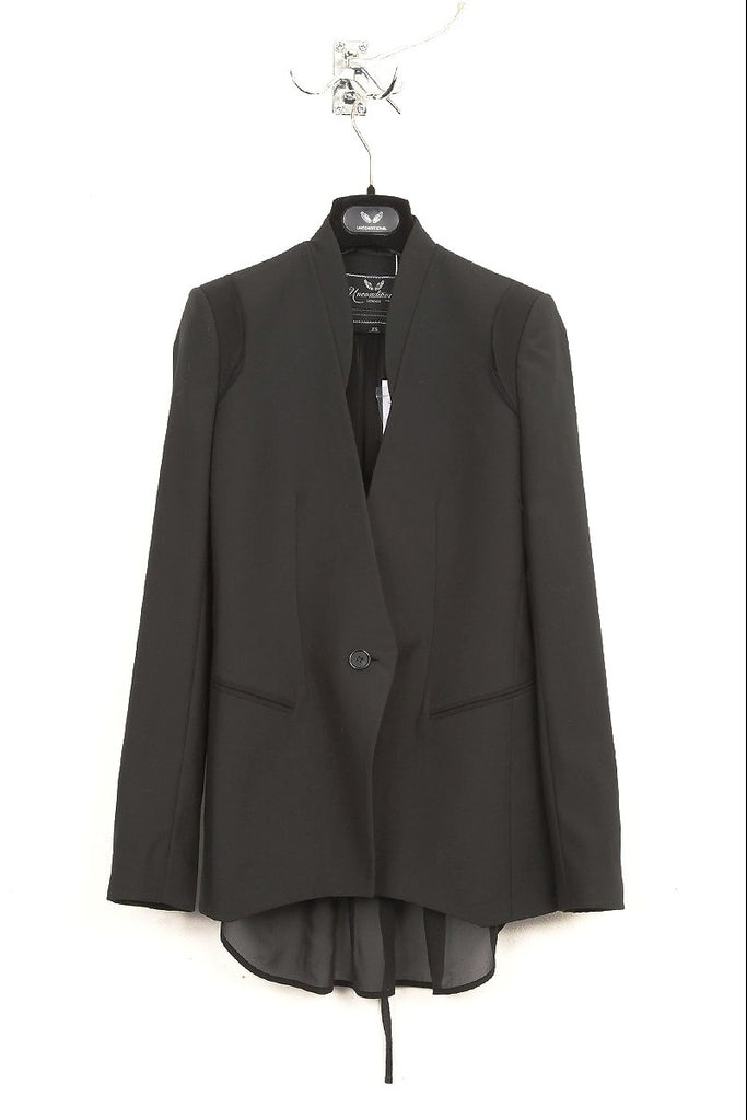 UNCONDITIONAL black with black chiffon one button chiffon lined open back jacket.