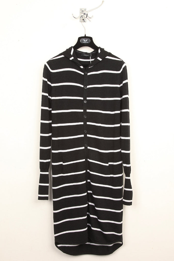 UNCONDITIONAL Charcoal and white striped knitted long hooded cardigan with tail.