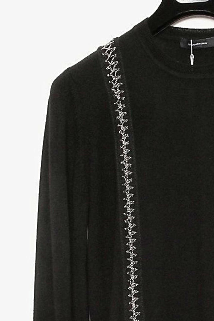 UNCONDITIONAL AW16 Black crew neck jumper with silver chain inserts to front