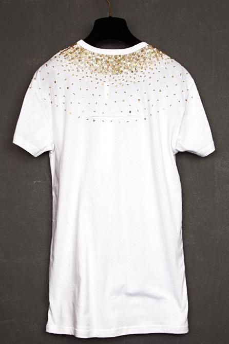 UNCONDITIONAL white scoop neck T-shirt with gold hand beading.
