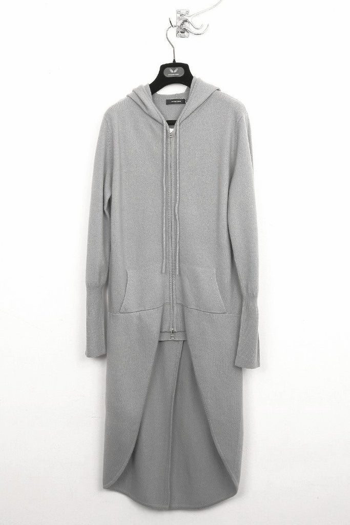 UNCONDITIONAL Silver boiled merino signature wool tailcoat hoodie.