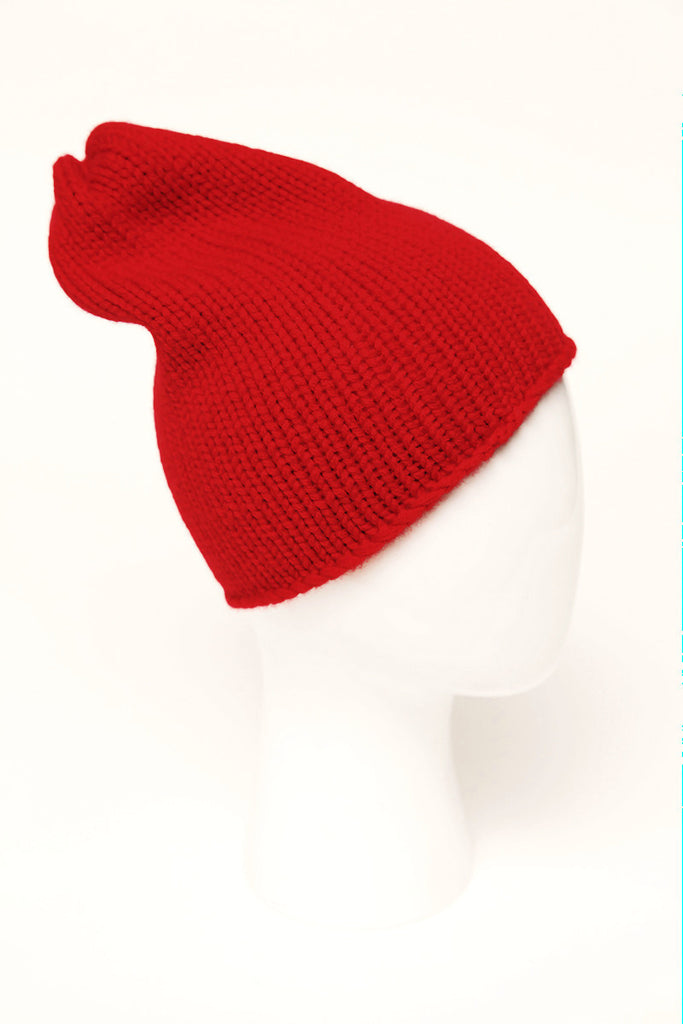 UNCONDITIONAL Red heavy merino signature handknitted beanie.