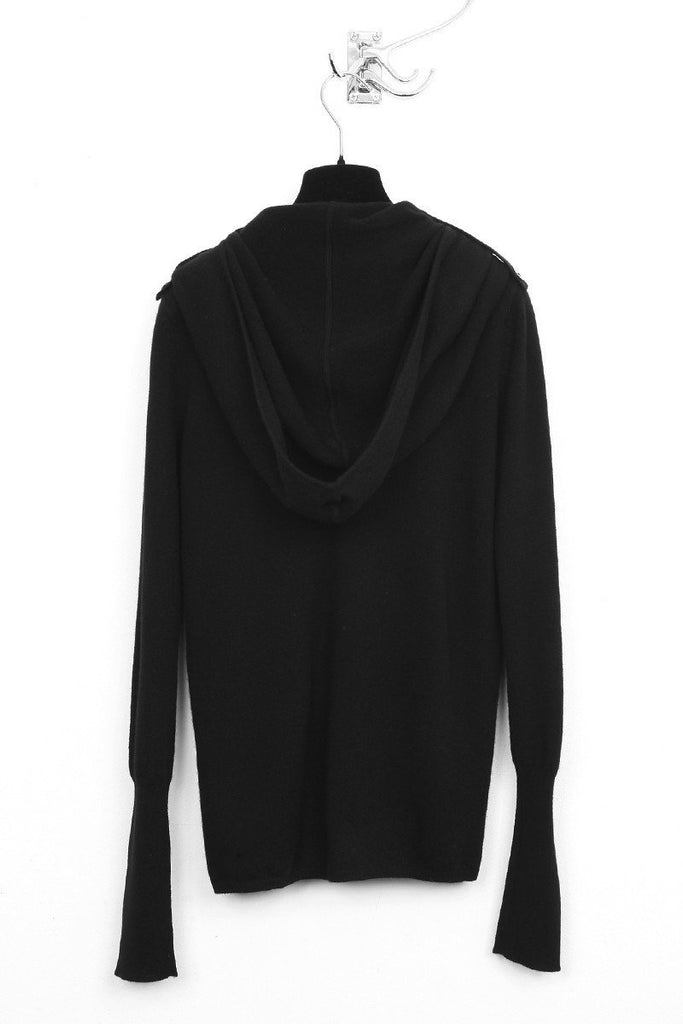 UNCONDITIONAL AW19 Womens Black Grade A cashmere 'Ghost Hoodie' sweater